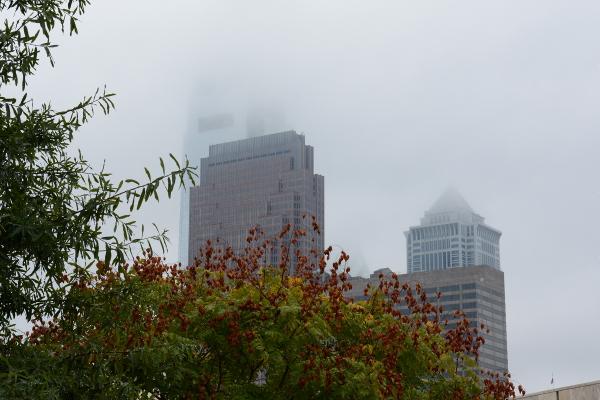 philadelphia skyline in the fog