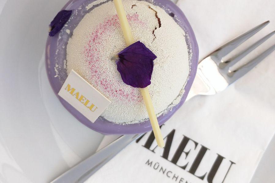 Violetta cake at Maelu in Munich, Germany.