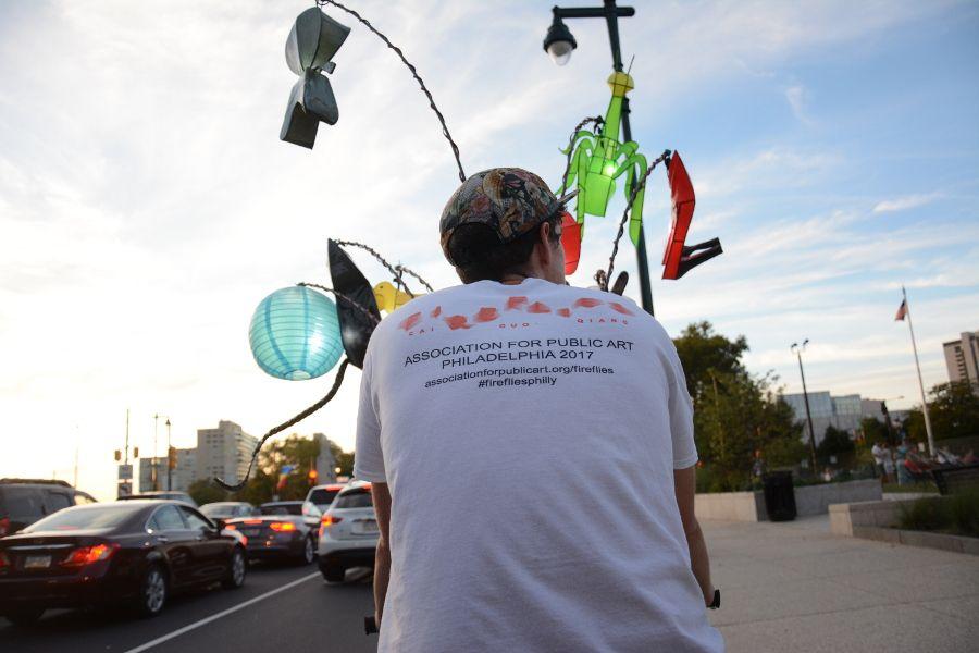 Riding in Cai Guo-Qiang: Fireflies pedicab in Philadelphia.