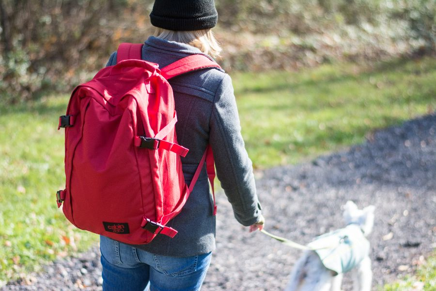Traveling, hiking or dog walking, the CabinZero backpack is super light-weight.