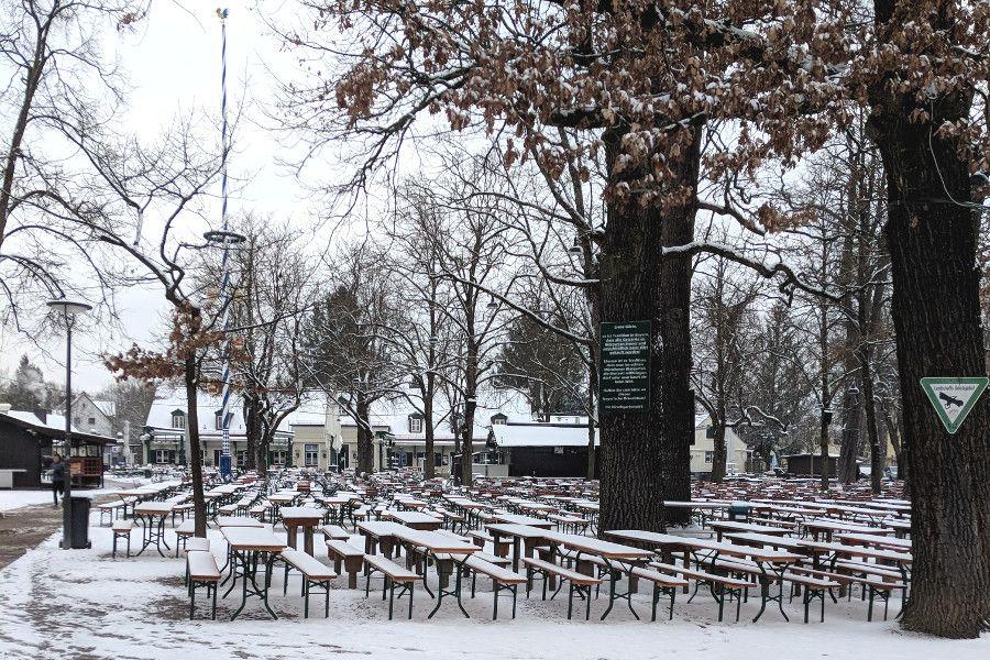 Hirschgarten's Biergarten in snow in Munich, Germany.