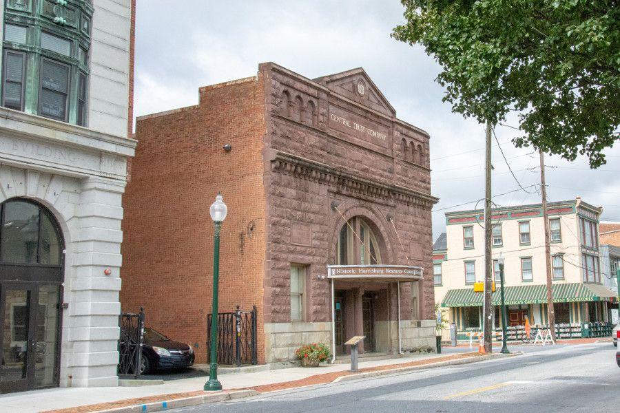 Historic buildings line the street in Midtown Harrisburg, Pennsylvania.