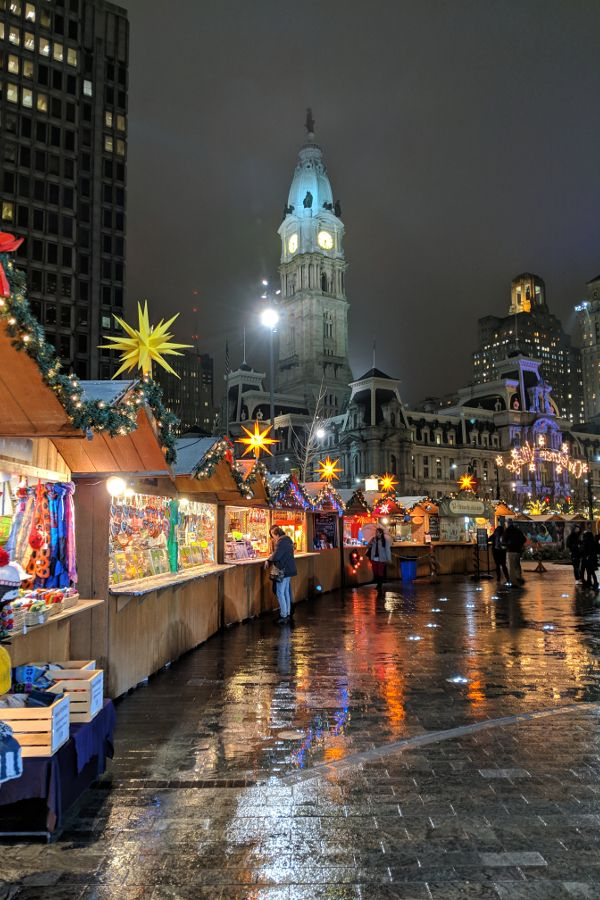 Christmas Village in Philadelphia with City Hall.