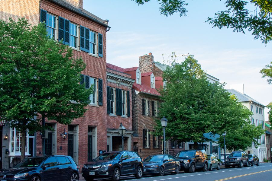 A block of historic brick buildings on Cameron Street in Alexandria.