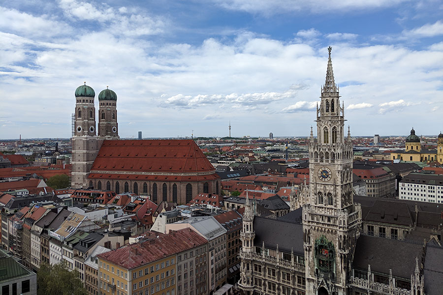 St. Peter's Church offers the best view in Munich of the Frauenkirche and the Neues Rathaus.